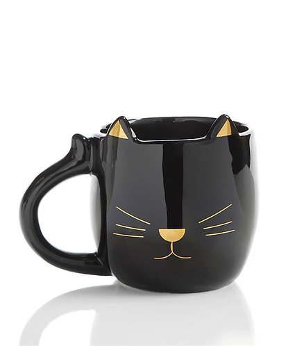 Black mug with handle curling like cat tail.  Raised cat ears on rim with gold cat face detail