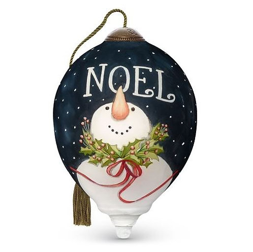 Snowman with upturned carrot nose and holly wreath around neck with Noel written above