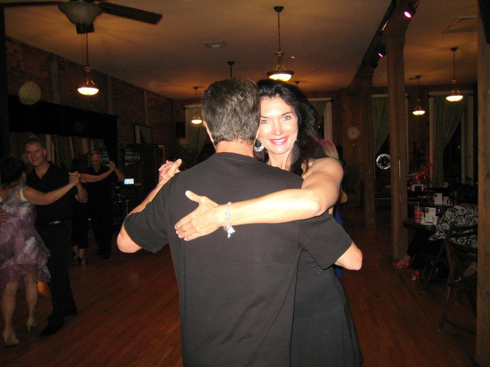 Dancing at a milonga with one of my students, Chuck