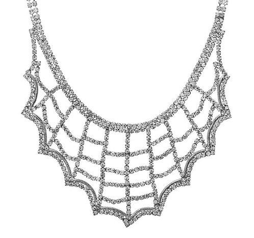 Rhinestone Web Pattern Necklace