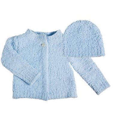 Blue Chenille Baby Cardigan and Hat Set