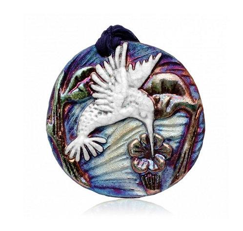 Raku Medallion - Hummingbird