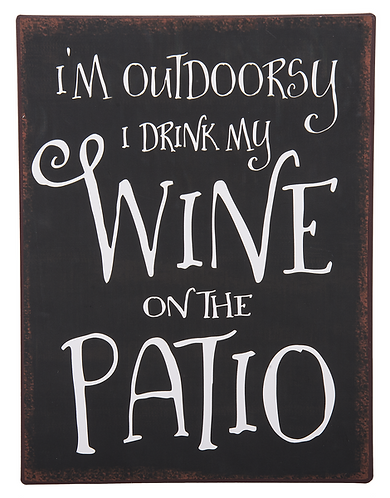 Outdoorsy Wine Metal Sign