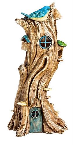 Twisted tree LED solar fairy house