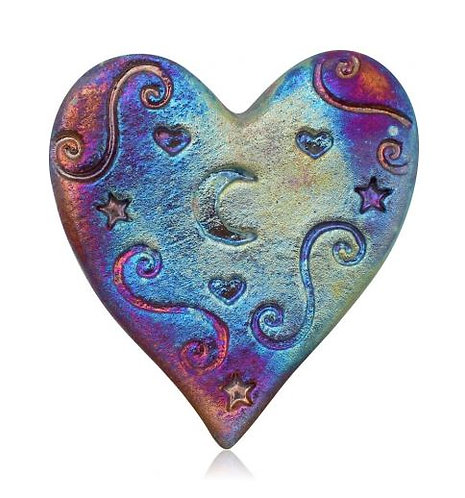 Heart shaped pottery with irridescent finish of blues/purple with stamped design of swirls, hearts and crescent mood shapes
