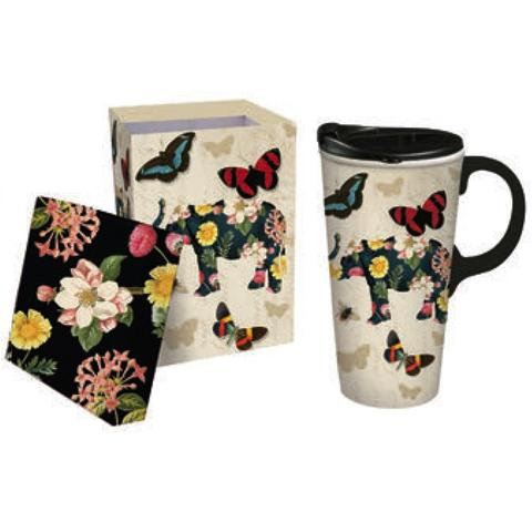 17oz Elephant/Butterflies Ceramic Travel Mug