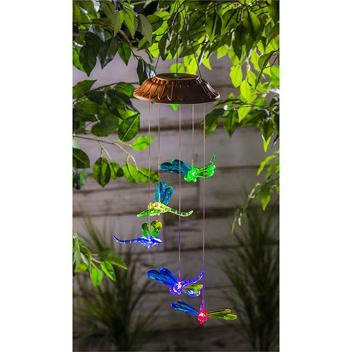 Faceted Dragonfly Color Changing Solar Mobile