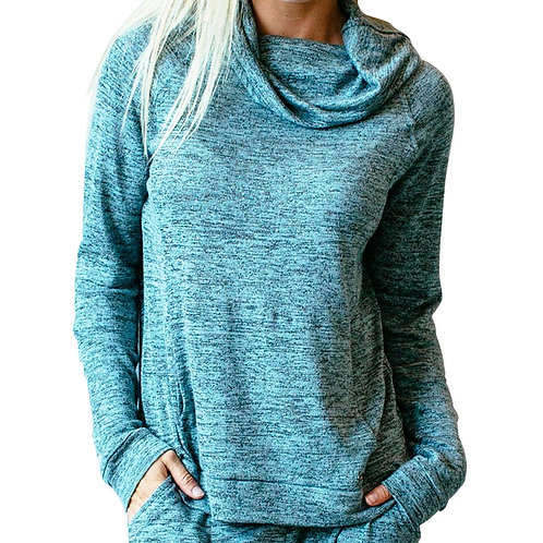 Mint Heather Lounge Top with pocket