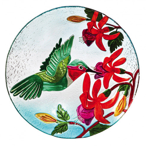 Hummingbird Flutter Glass Bird Bath