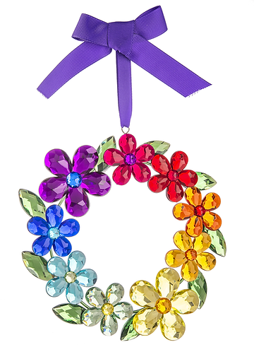 Rainbow Daisy Mini Wreath