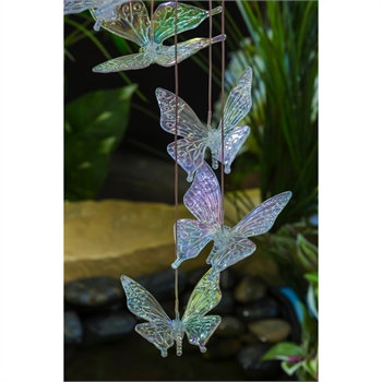 Iridescent Butterfly color changing LED solar mobile