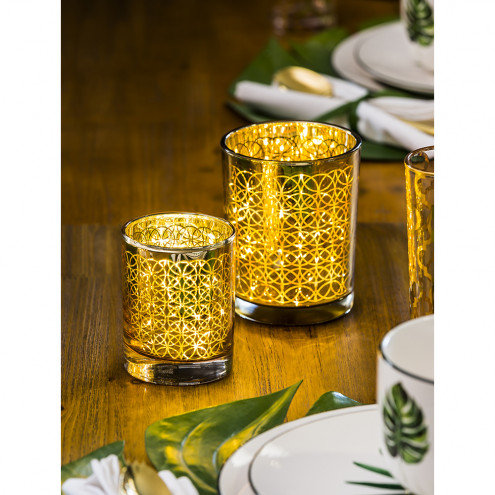 Dimensional Gold Glass Candle Holder