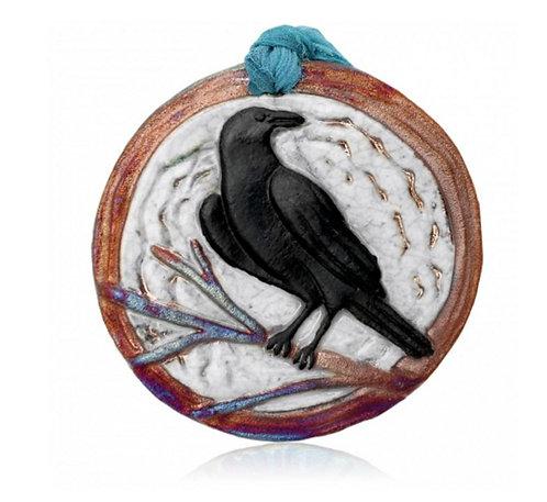 Raku Medallion - Raven