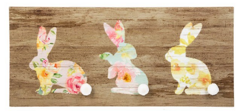 3 bunny cottontail wall art