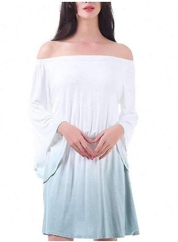 Grey Bell Sleeve Ombre Dress