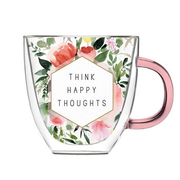 Happy Thoughts Glass Cafe Cup