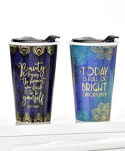 Ceramic Gold Filagree Travel Cup