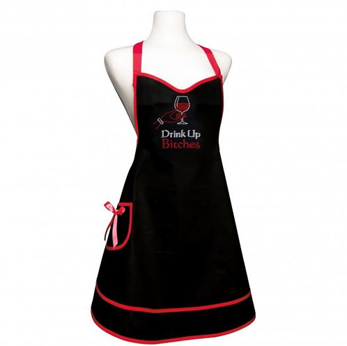 Mannequin wearing apron.  Black apron with red ties and border on bottom hem.  Removable bow on side pocket.