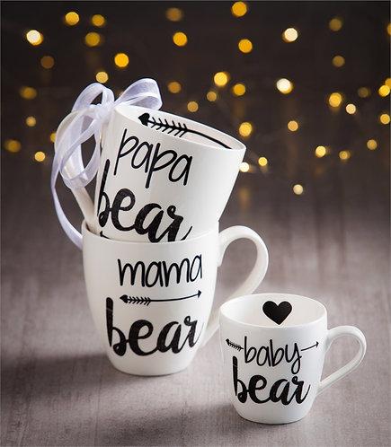 Mama bear mug, papa bear mug, baby bear mug, boxed set