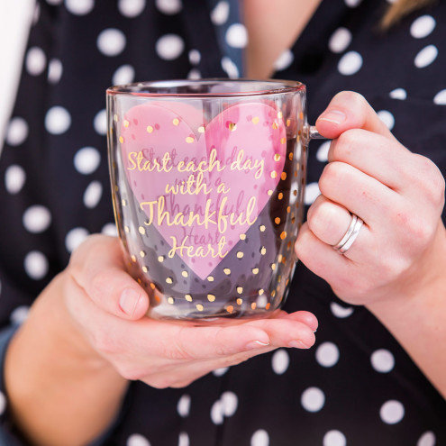 Thankful Heart Glass Cafe Cup