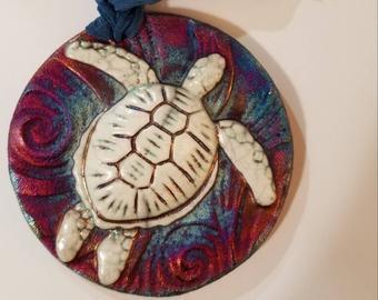 Raku Medallion - Turtle