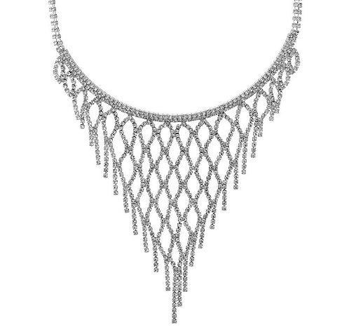 Rhinestone Net Pattern Necklace