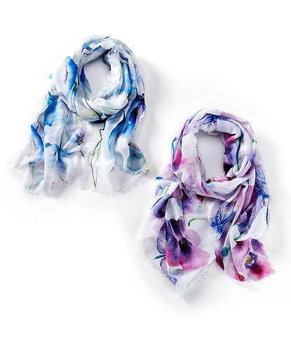 Dragonfly & Hummingbird Floral Scarf