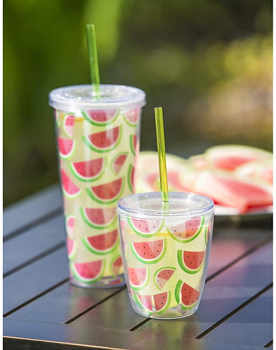 Watermelon double wall insulated tumbler with straw
