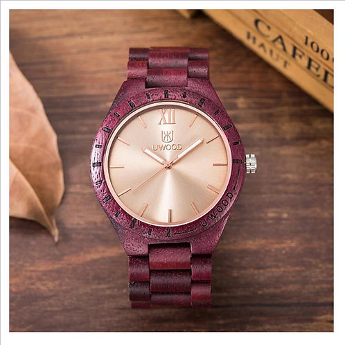 Red Wooden Watch Gold Face