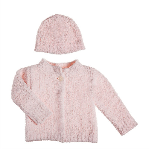 Pink Chenille Baby Cardigan and Hat Set