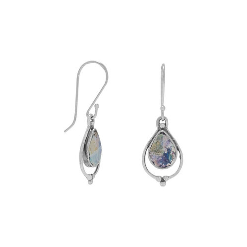 Pear Shape Roman Glass Earrings