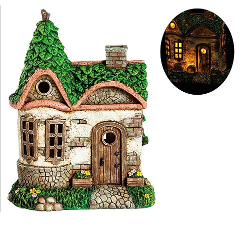 English Cottage LED solar fairy house