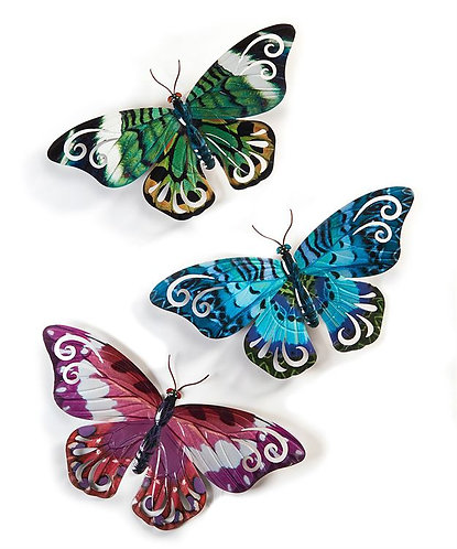 Three butterfly wall art pieces, green, blue and pink tiger butterfly print