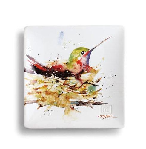 Hummingbird in Nest Snack Plate