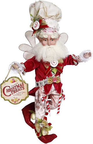 """Red coat trimmed with candy canes, pink pants, cream chef hat with peppermint swirl, holding sign """"Santa's christmas treats"""""""