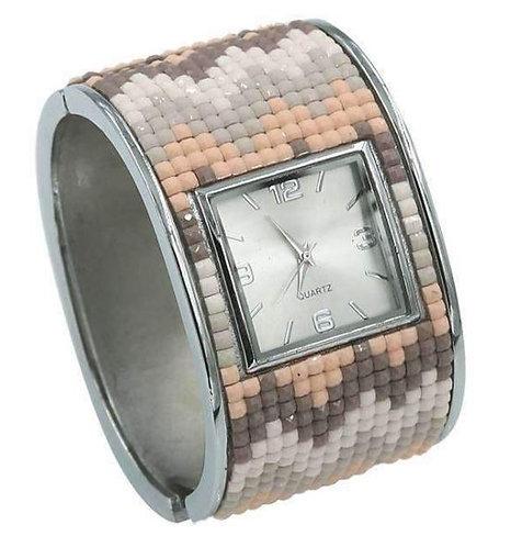 Light pink Nuetrals Mosaic Hinged Cuff Bracelet Watch