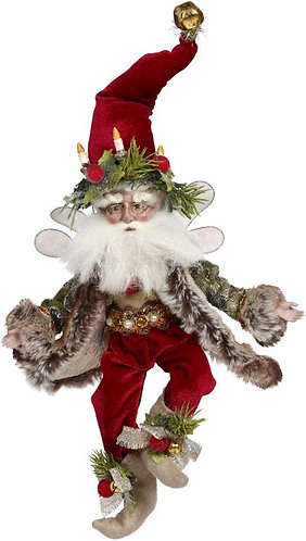 Red Santa hat with pine bough and candle garland on brim, red pants, fur trimmed green brocade jacket