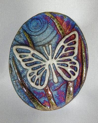 Raku Medallion - Butterfly
