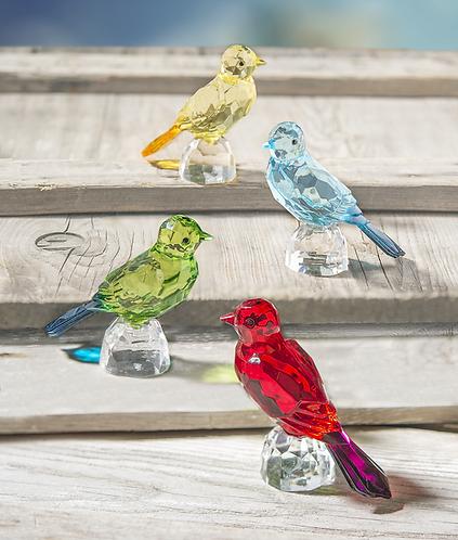 Faceted Acrylic Bird on Rock