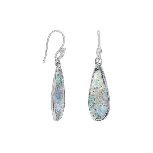 Roman Glass Pear Drop Earrings