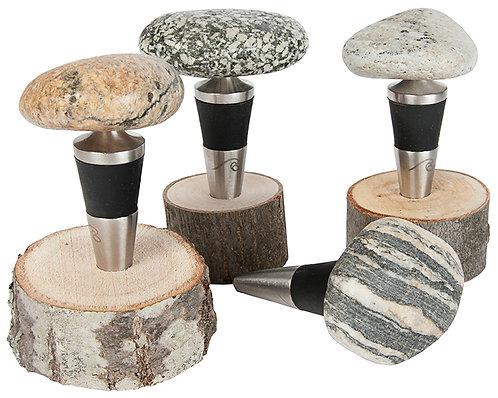 Stone Bottle Stopper with wood base