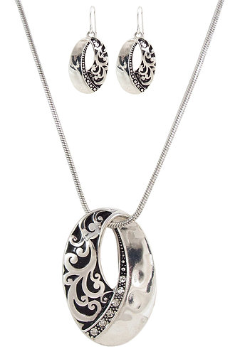 Oval CZ Antique Silver tone necklace set