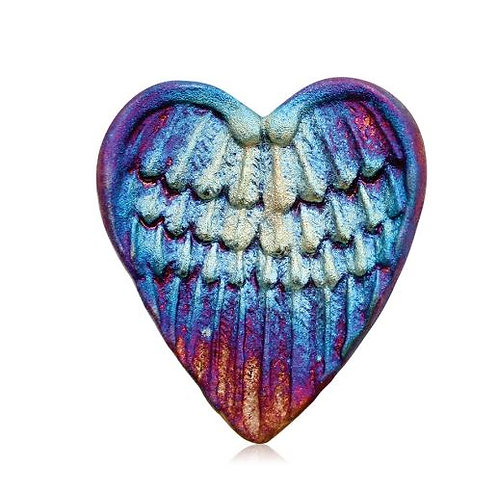 Heart shaped pottery with wings stamp design with irridescent finish of blues, purples, copper