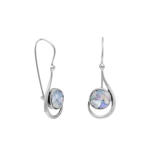 Roman Glass Hook Shape Earrings
