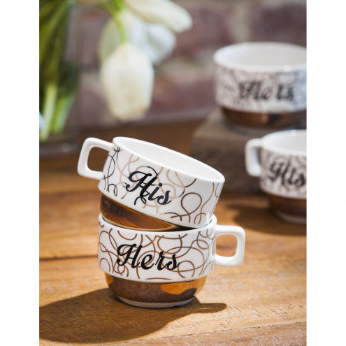 His & Hers Stacked Ceramic Coffee Cup