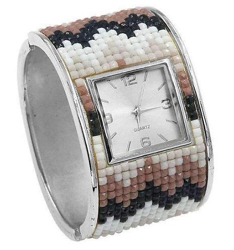 Taupe Mosaic Hinged Cuff Bracelet Watch