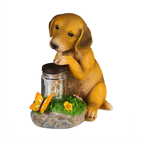 Dog firefly jar light-up statue