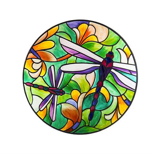 Art Nouveau Dragonfly Glass Bird Bath