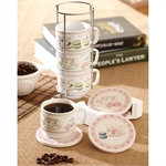 Macaron stacking mug set w/stand and coasters