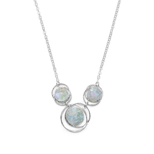 """17"""" Abstract Circle Roman Glass Necklace"""